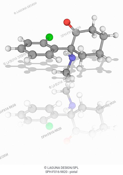 Ketamine. Molecular model of the drug ketamine (C13.H16.Cl.N.O), used in human and veterinary medicine for the induction and maintenance of general anaesthesia