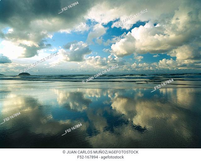 Clouds and 'Playa Larga' beach. Biscay. Spain