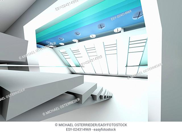 A futuristic entrance hall to a corporate building. 3D rendered Illustration