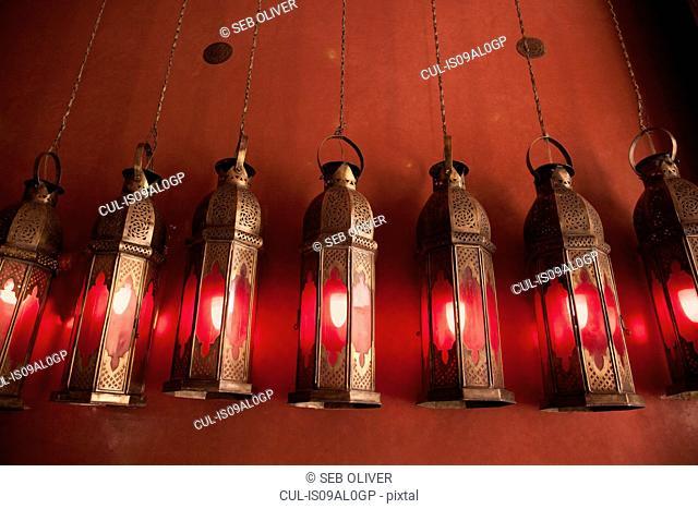 Row of lamps, Souks off Jamaa el Fna Square, Marrakech, Morocco
