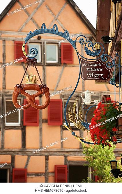 France, Haut Rhin, Alsace Wine Route, Eguisheim, labeled Les Plus Beaux Villages de France The Most Beautiful Villages of France
