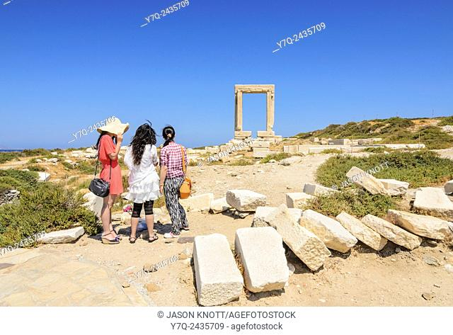 Tourists at the Temple of Apollo Arch, Naxos Island, Cyclades, Greece