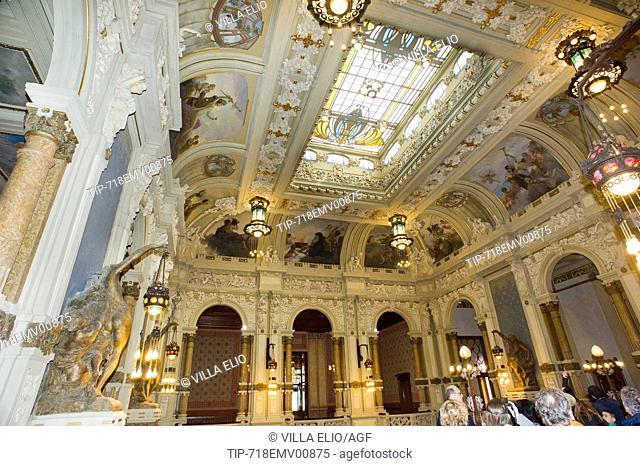 Italy; Lombardy; Bergamo, San. Pellegrino Terme; Kursaal Municipal Casino Designed by Arch. Romolo Squadrelli with glass windows by Giovanni Beltrame