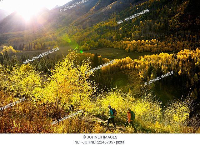 Tourists hiking in mountain scenery