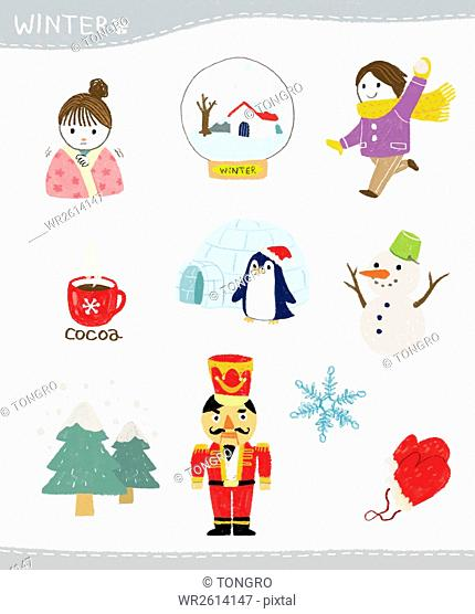 Various winter stickers