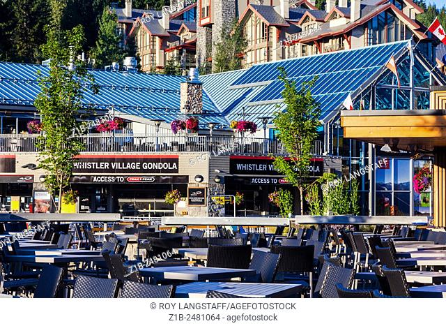 Early morning in Whistler Village waiting for the lifts to open for mountain bike riders