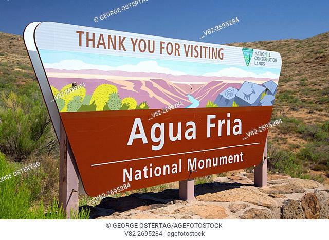 Entrance sign, Agua Fria National Monument, Arizona