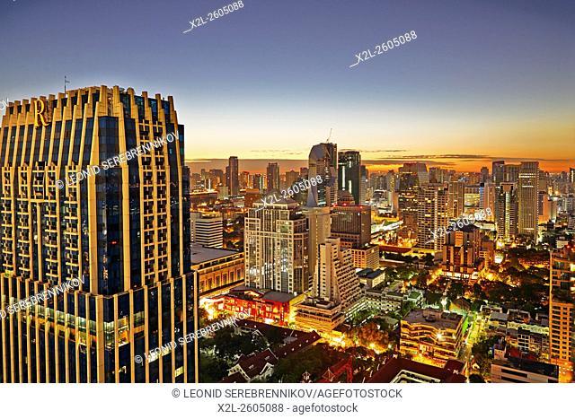 Elevated city view at sunrise. Bangkok, Thailand