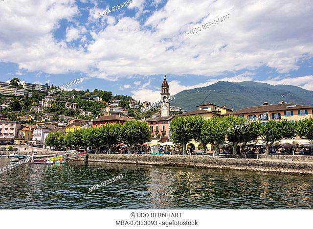 Lungolago waterfront, Ascona, Lake Maggiore, Ticino, Switzerland