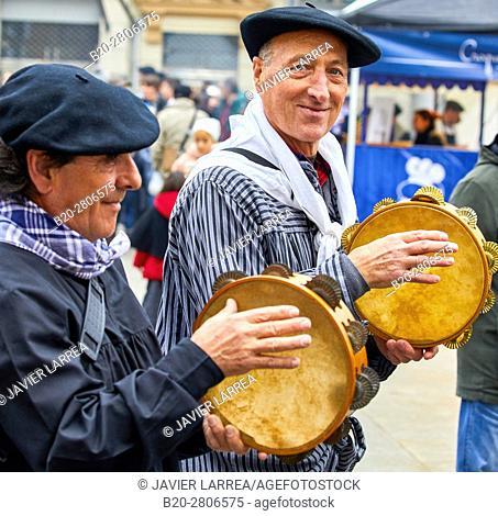 Tambourines, part of  traditional Trikiti ensemble. Feria de Santo Tomás, The feast of St. Thomas takes place on December 21