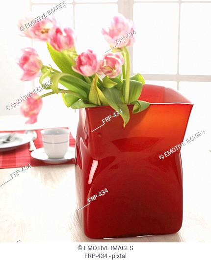 Tulips in a red glass vase