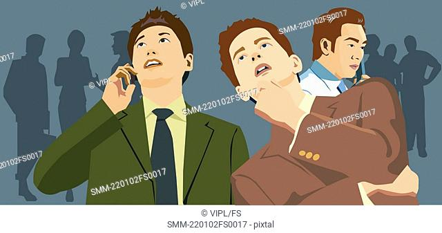 Front view of businessmen looking up