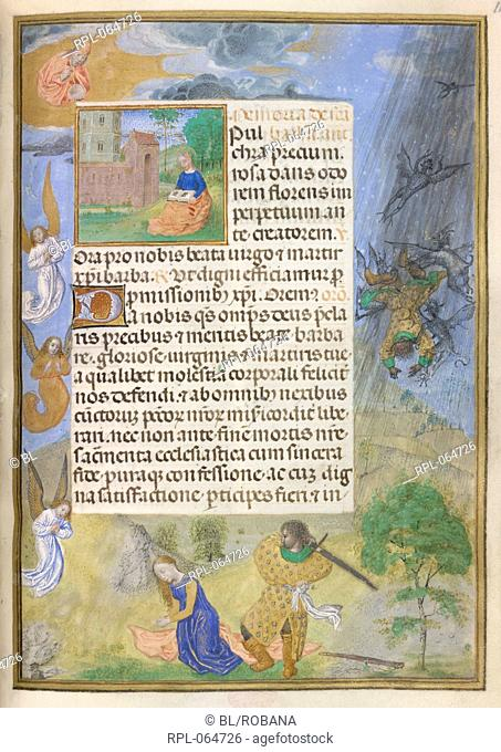 Martyrdom of St Barbara Whole folio Suffrages of the Saints. Prayer to St Barbara. St Barbara sits on a grassy slope reading with a tower behind her