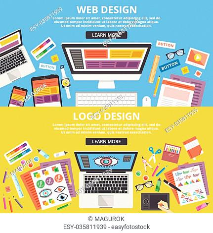 Web design, logo design flat illustration concepts set. Top view. Modern flat design concepts for web banners, web sites, printed materials, infographics