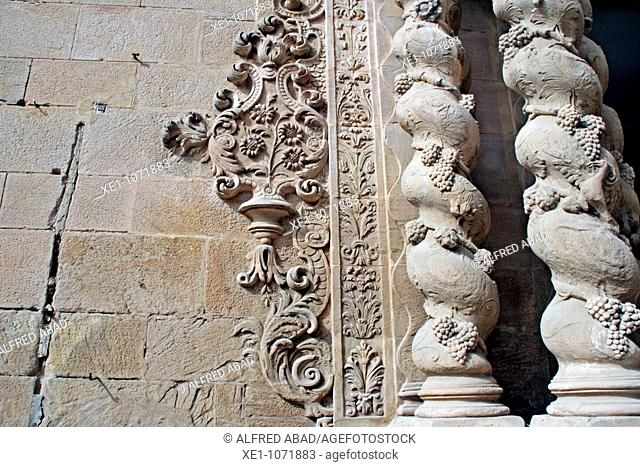 detail of the spiral columns, Santa Maria parish, Caldes de Montbui, Catalonia, Spain