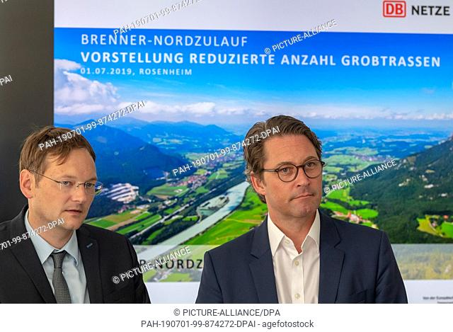 01 July 2019, Bavaria, Rosenheim: Hans Reichhart (l, CSU), State Minister for Housing, Construction and Transport, and Andreas Scheuer (CSU)
