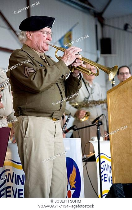 Actual trumpeter from World War II who played Taps during liberation of Nazi Auschwitz concentration camp in Germany - performed at Mid-Atlantic Air Museum...
