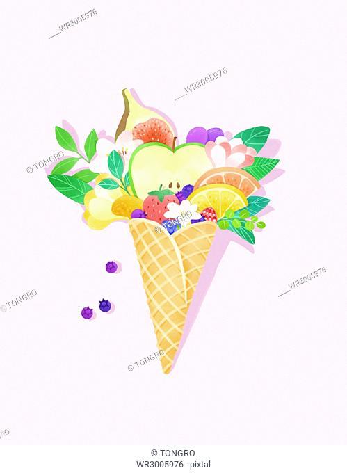 Various fruit dessert in illustration