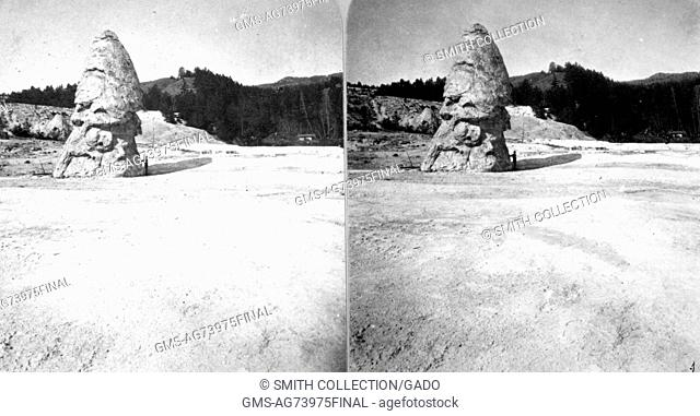 Stereograph of Liberty Cap in the Mammoth Hot Springs, Yellowstone National Park, Wyoming, 1872. Image courtesy USGS