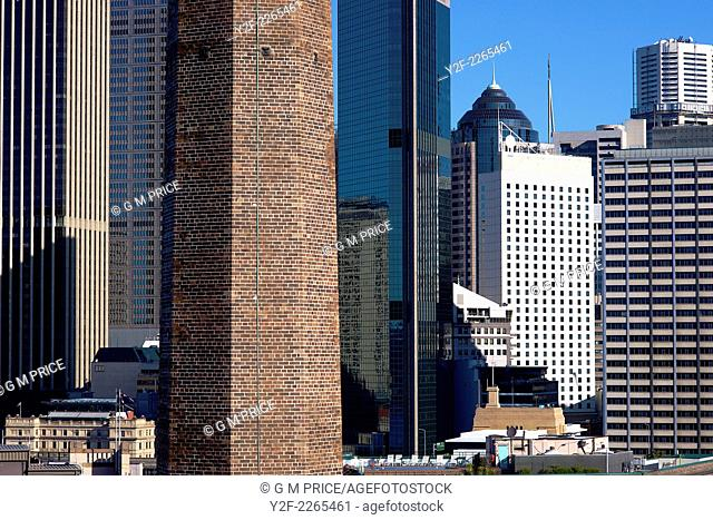 long lens aerial perspective on buildings in downtown Sydney, Australia