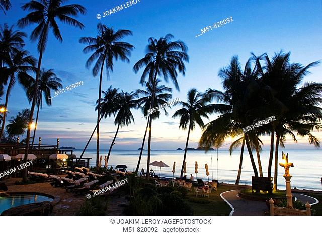 View at twilight of a tropical resort in the island of Koh Chang in Thailand