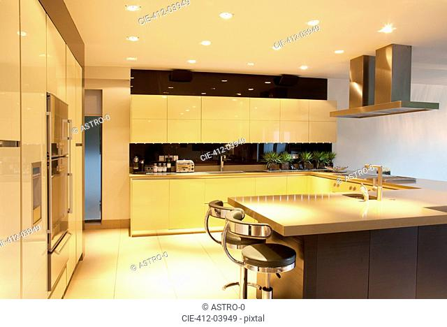 Counters and lighting in modern kitchen