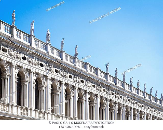 Piazza San Marco, Venice, Italy. Details in perspective on old palace facades