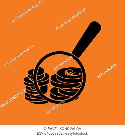 Magnifying over coins stack icon. Orange background with black. Vector illustration