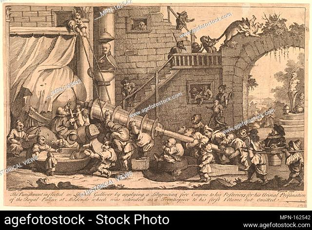 The Punishment Inflicted on Lemuel Gulliver. Artist: William Hogarth (British, London 1697-1764 London); Author: Illustrates Jonathan Swift (Irish