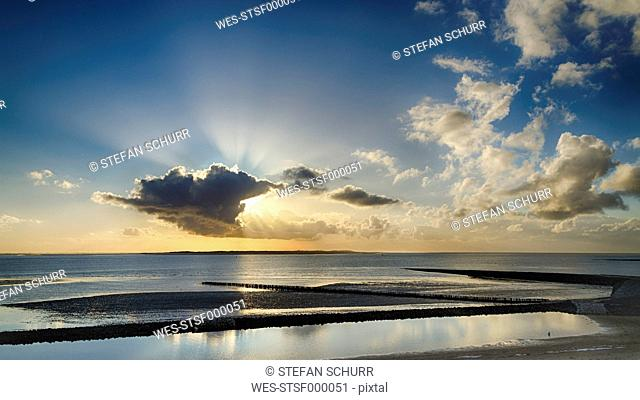 Germany, Sunset at North Sea in Spiekeroog