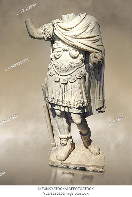 Roman statue of an Emperor with a breastplate (loricata) from the 2nd cent AD from the Imperial Villa, Rome. The statue depicts a man in military dress