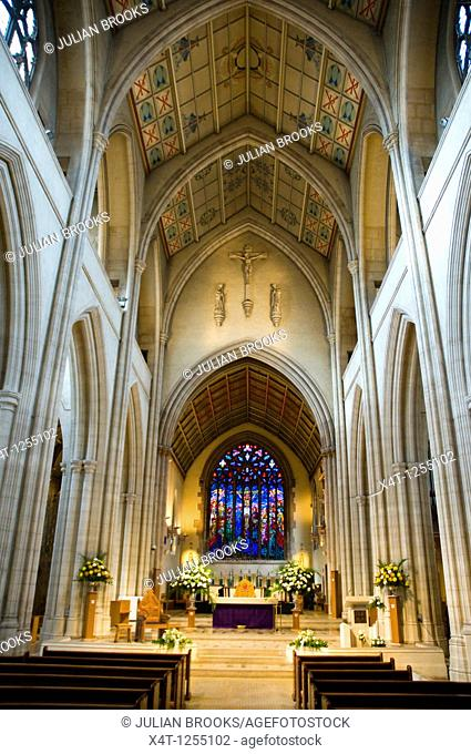 The interior of St  George's Catholic Cathedral, Southwark, looking towards the altar