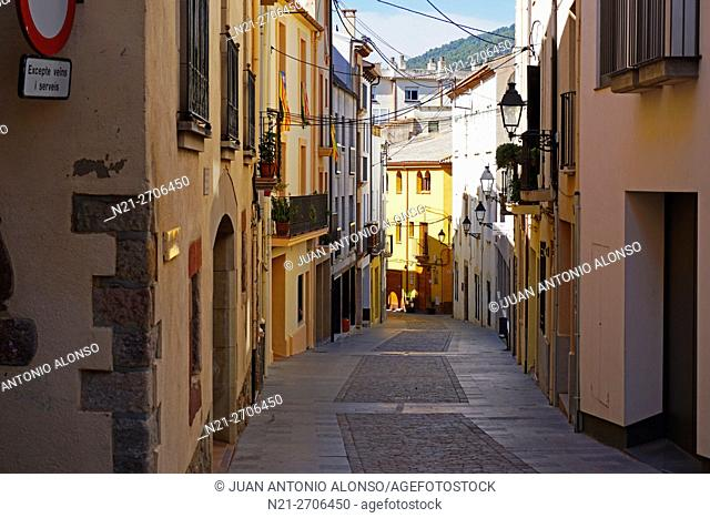 Quiet street in the town of Caldes de Montbui, famous for its thermal waters and spas. Barcelona, Catalonia, Spain, Europe