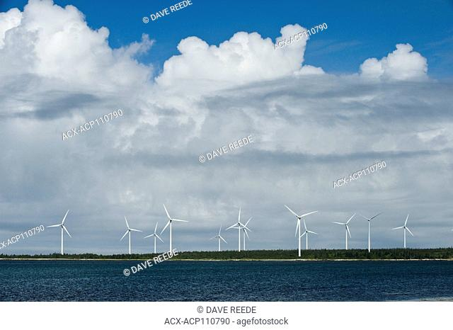 wind turbines along the Bay of Fundy near Pubnico, Nova Scotia