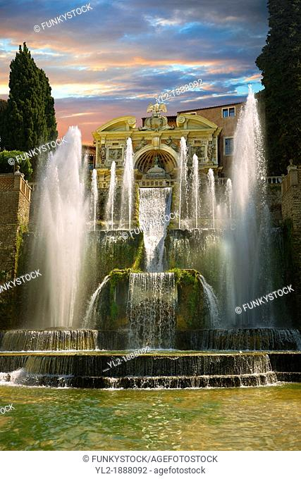 The water jets of the Organ fountain, 1566, housing organ pipies driven by air from the fountains  Villa d'Este, Tivoli, Italy - Unesco World Heritage Site