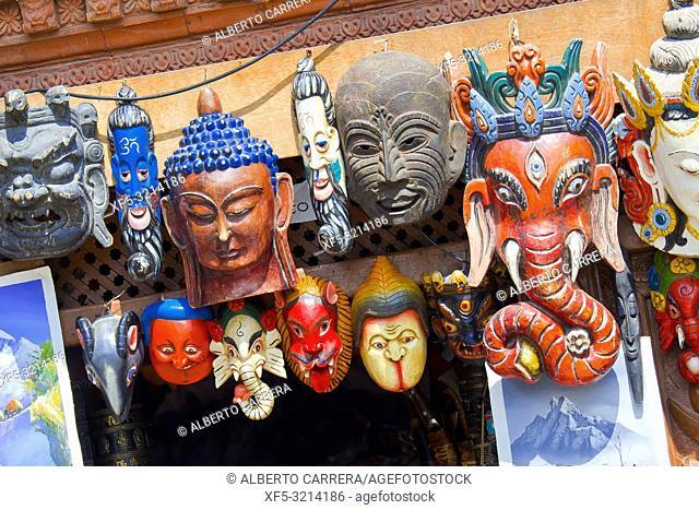 Colorful Masks, Souvenirs Shop, Swayambhunath Temple, Monkey Temple, UNESCO World Heritage Siite, Kathmandu, Nepal, Asia