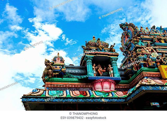 Close up of SRI ARULOLI THIRUMURUGAN Temple with blue sky , Penang Hill Malaysia