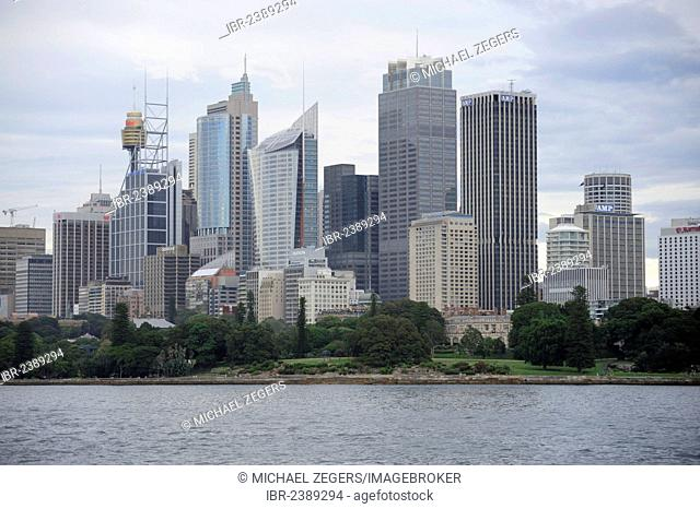 Skyline of the city centre, high-rise office buildings in the Central Business District, CBD, Sydney Harbour, Sydney City, Sydney, New South Wales, NSW