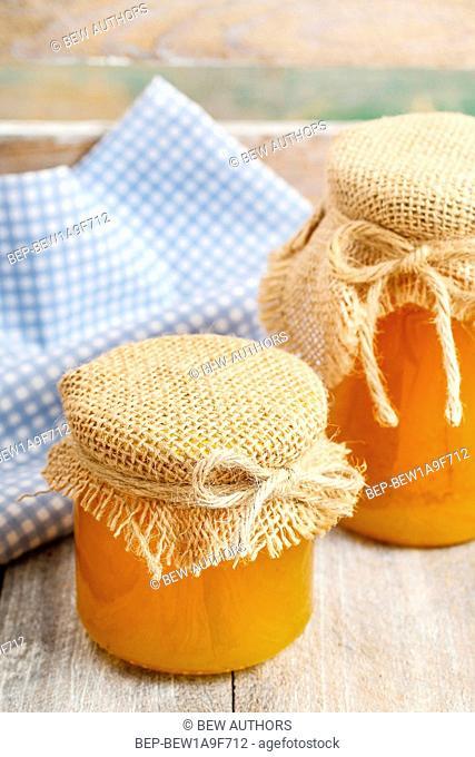 Jars of honey. Healthy food
