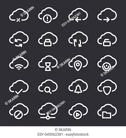 Cloud computing linear icons set. Online data storage icons. Thin line illustration. Vector isolated outline drawings
