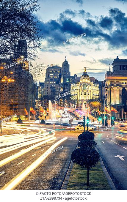 Calle de Alcala and Cibeles Fountain by sunset. Madrid, Spain