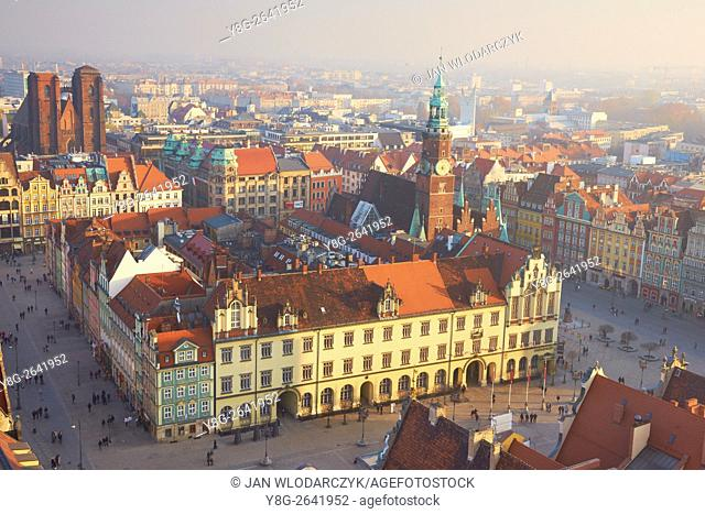 Aerial view at Market Square, Wroclaw Old Town, Poland