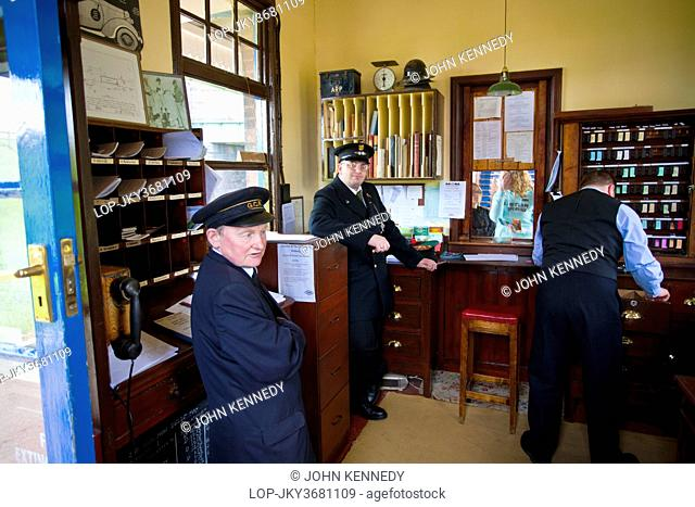 England, Leicestershire, Rothley. Inside the restored 1940's Station Master's Office at Rothley Train Station
