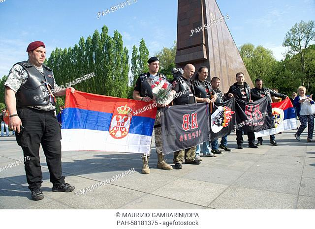 Members of the Night Wolves Russian motorcycle club commemorate the end of the war at the Soviet Memorial in Treptow, Berlin, 9 May 2015