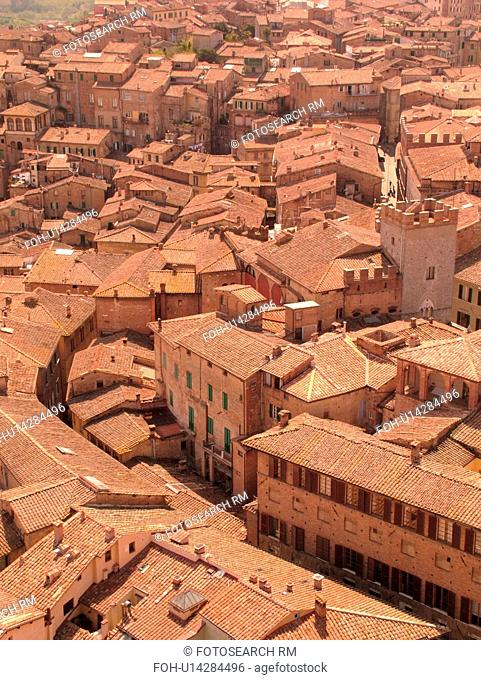 Siena, Tuscany, Italy, Toscana, Europe, Aerial view of the city of Siena from Torre del Mangia