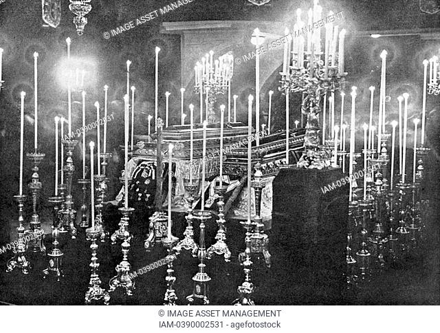 Assassination of Archduke Francis Ferdinand Franz Ferdinand 1863-1914, heir to the Austrian throne, at Sarajevo 28 June 1914  The coffins of Franz Ferdinand and...