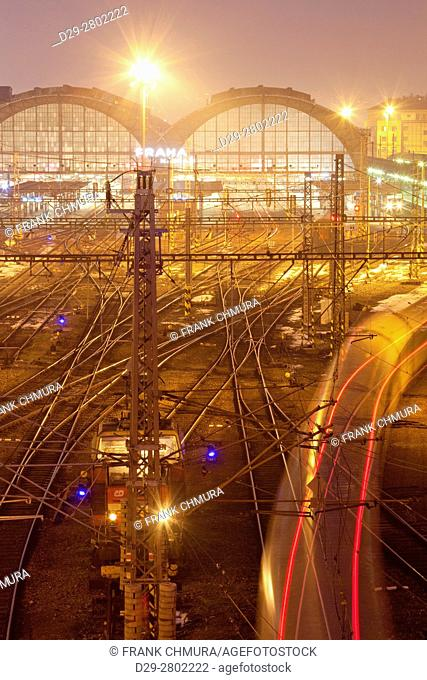 Prague Main Railway Station - view from above of tracks outside at dusk