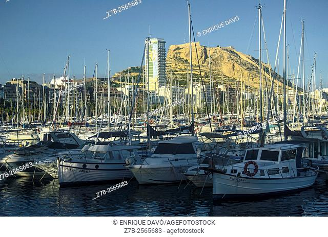 A white boats view in the maritime port of Alicante, Spain