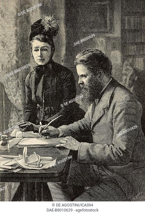 Portrait of Wilfrid Scawen Blunt (1840-1922), English poet and writer, with his wife Lady Anne Blunt (1837-1917), engraving by Richard Taylor from The...
