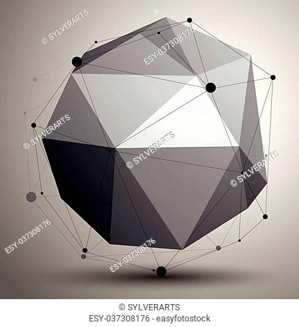 Geometric abstract 3D complicated lattice object, single color asymmetric element with wireframe structure